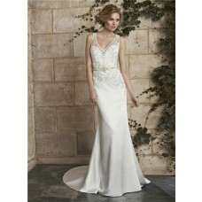Slim Mermaid V Neck Illusion Back Satin Applique Wedding Dress Sheer Straps