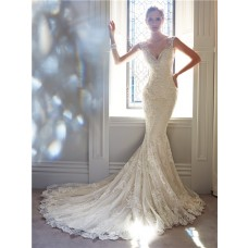 Slim Mermaid V Neckline Sheer Illusion Back Lace Beaded Crystal Wedding Dress