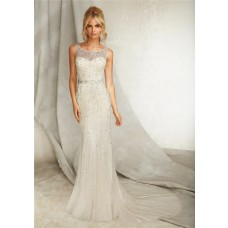 Slim Sheath Bateau Illusion Neckline Open Back Tulle Beaded Wedding Dress With Belt