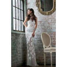 Slim Sheath Bateau Neck Low V Back Long White Lace beaded Evening Prom Dress
