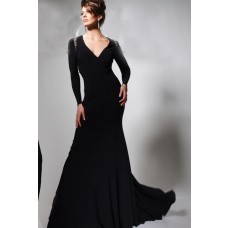 Slim Sheer See Through Back Long Sleeve Black Chiffon Tulle Beaded Evening Prom Dress