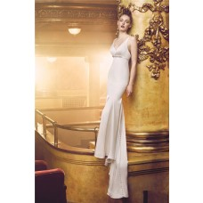 Slim V Neck Empire Waist Spaghetti Strap Satin Wedding Dress Crystal Buttons