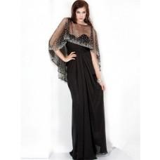 Sparkle Sheath Long Black Chiffon Evening Prom Dress With Beaded Sequins Shawl