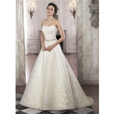 Sparkly A Line Strapless Sequin Lace Wedding Dress With Crystals Belt
