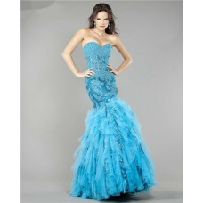 Sparkly Mermaid Sheer Blue Lace Beaded Tulle Ruffle Evening Prom Dress