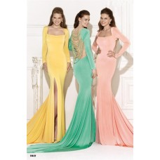 Square Neck High Slit Long Sleeve Yellow Jersey Evening Dress With Pearls