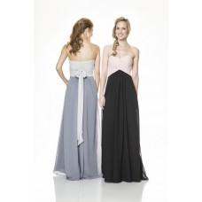 Strapless Empire Waist Long Blush Pink And Black Chiffon Occasion Bridesmaid Dress