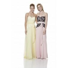 Strapless Long Light Pink Chiffon Black Lace Peplum Occasion Bridesmaid Dress With Belt