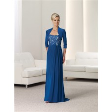 Strapless Royal Blue Lace Chiffon Mother Of The Bride Evening Dress With Bolero Jacket