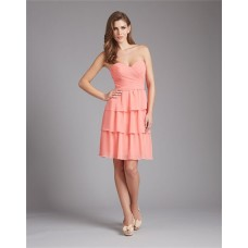 Strapless Sweetheart Short Tiered Coral Chiffon Wedding Guest Bridesmaid Dress