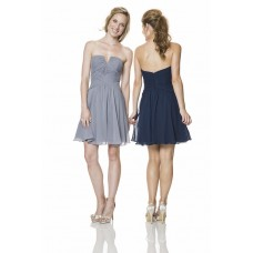 Strapless V Neck Short Grey Chiffon Ruched Wedding Party Bridesmaid Dress