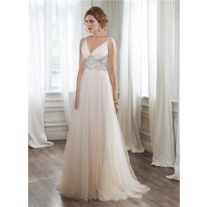 Stunning A Line V Neck Sheer Back Tulle Crystal Beaded Wedding Dress