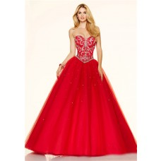 Stunning Ball Gown Strapless Corset Red Tulle Beaded Prom Dress