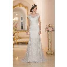 Stunning Mermaid Sheer Illusion Neckline Cap Sleeve Keyhole Back Lace Wedding Dress