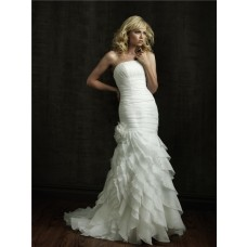 Stunning Mermaid Strapless Asymmetrical Organza Wedding Dress With Ruffles Ruching