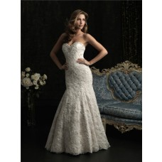 Stunning Mermaid Strapless Sweetheart Lace Beaded Wedding Dress With Train
