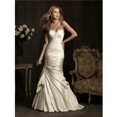 Stunning Mermaid Sweetheart Ivory Cream Satin Ruched Wedding Dress Corset Back