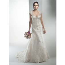 Stunning Mermaid Sweetheart Vintage Lace Wedding Dress With Detachable Cap Sleeves