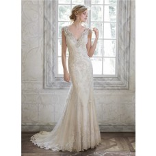 Stunning Mermaid V Neck Backless Cap Sleeve Lace Beaded Wedding Dress