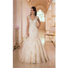 Stunning Mermaid V Neck Low Back Gold Lace Beaded Sparkly Wedding Dress