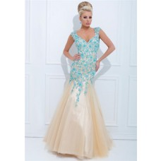 Stunning Mermaid V Neck Open Back Champagne Tulle Turquoise Beaded Long Prom Dress