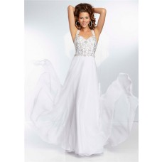 Sweetheart Neckline Flowing Long White Chiffon Beaded Prom Dress With Straps