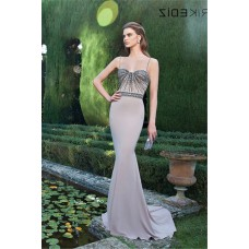 Sweetheart Spaghetti Strap Silver Satin Evening Prom Dress With Bow Buttons