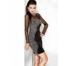 Tight Backless Short Black Sheer Beaded Cocktail Evening Dress With Long Sleeve
