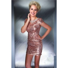 Tight Cap Sleeve Backless Short Mini Nude Sequin Beaded Cocktail Evening Dress