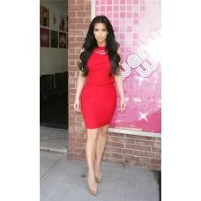 Tight Short/ Mini Kim Kardashian Red Jersey Dress