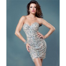 Tight Sweetheart Short Mini Nude Silver Beaded Night Out Club Cocktail Party Dress