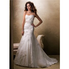 Traditional A Line Princess Strapless Lace Wedding Dress With Sparkle Sequins