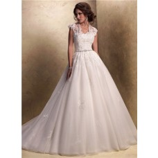 Traditional Ball Gown Cap Sleeve Tulle Lace Wedding Dress With Jacket Buttons