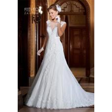 Trumpet Bateau Neckline Sheer Back Cap Sleeve Lace Glitter Wedding Dress