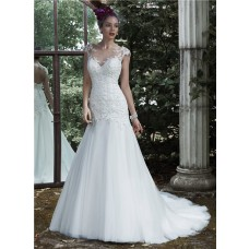 Trumpet Illusion Neckline Cap Sleeve Keyhole Open Back Tulle Lace Wedding Dress