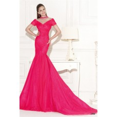 Trumpet Illusion Neckline Hot Pink Tulle Ruched Prom Dress With Sleeves