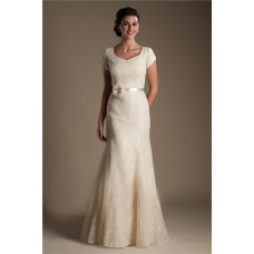Trumpet Mermaid Cap Sleeve Champagne Lace Modest Wedding Dress With Flower Sash