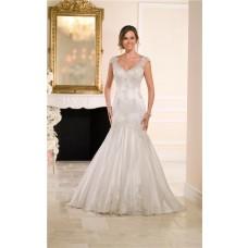 Trumpet Mermaid Cap Sleeve Open Back Lace Beaded Wedding Dress