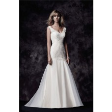 Trumpet Mermaid Scalloped Neck Ivory Lace Organza Wedding Dress