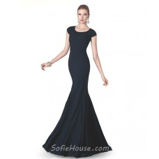 Trumpet Mermaid Scoop Neck Cap Sleeve Navy Blue Chiffon Beaded Long Evening Dress