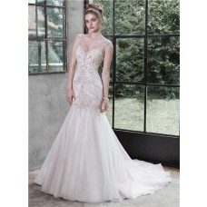 Trumpet Mermaid Sweetheart Backless Organza Beaded Wedding Dress With Straps