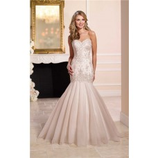 Trumpet Mermaid Sweetheart Champagne Satin Tulle Lace Beaded Vintage Wedding Dress