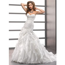 Trumpet/ Mermaid Sweetheart Court Train Oganza Ruffles Wedding Dress With Corset Back