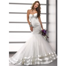 Trumpet/ Mermaid Sweetheart Pleat Tulle Wedding Dress With Layered Skirt Crystal