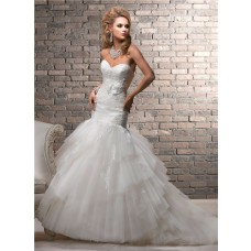 Trumpet/ Mermaid Sweetheart Tiered Tulle Lace Wedding Dress With Flower
