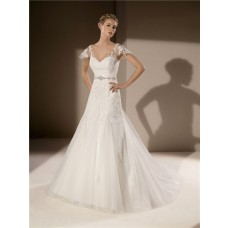 Trumpet Mermaid V Neck And Back Cap Sleeve Tulle Lace Wedding Dress With Bow Sash