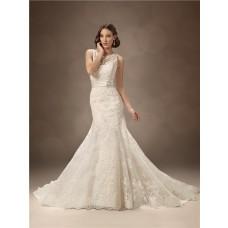 Trumpet/Mermaid bateau chapel train backless lace wedding dress