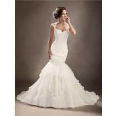 Trumpet/Mermaid cap sleeve backless sexy wedding dress