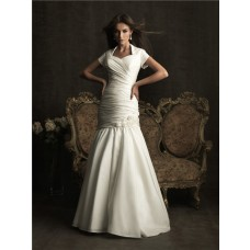 Trumpet/ Mermaid high neck short sleeves taffeta wedding dress