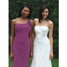 Trumpet/Mermaid one shoulder floor length long purple chiffon bridesmaid dress